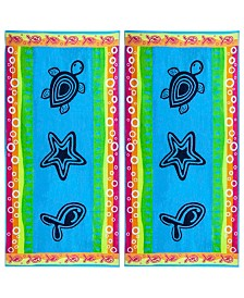 American Dawn Sea Life Double Velour Jacquard Beach Towel 2 Piece Set