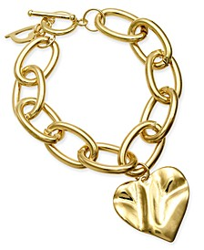 Gold-Tone Hammered Heart Charm Link Bracelet, Created for Macy's