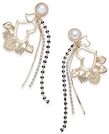 Gold-Tone Imitation Pearl Heart Charm Drop Earrings, Created for Macy's
