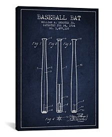 Baseball Bat Navy Blue Patent Blueprint by Aged Pixel Wrapped Canvas Print Collection