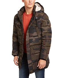 Men's Long Puffer with Sherpa Hood, Created for Macy's