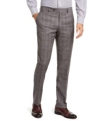 Men's Modern-Fit THFlex Stretch Gray/Black Plaid Suit Separate Pants