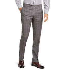 Men's Modern-Fit THFlex Stretch Gray/Black Plaid Suit Separate Pants