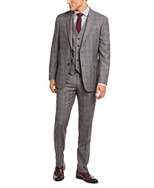 Men's Modern-Fit THFlex Stretch Gray/Black Plaid Suit Separates