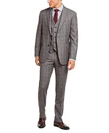 Tommy Hilfiger Men's Modern-Fit THFlex Stretch Gray/Black Plaid Suit Separates