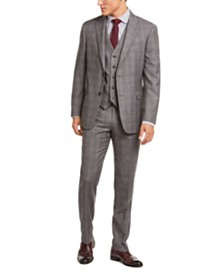 Tommy Hilfiger Men's Modern-Fit THFlex Stretch Gray/Black Plaid Suit Separates