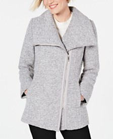 I.N.C. Asymmetrical Faux-Leather-Trim Coat, Created for Macy's