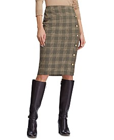 Lauren Ralph Lauren Glen Plaid-Print Button-Trim Skirt