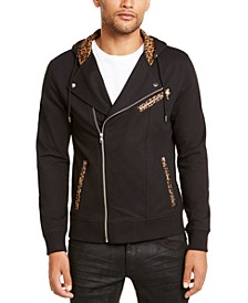INC Men's Leopard Trim Biker Jacket, Created for Macy's