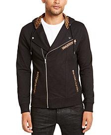 INC Men's Leopard Trim Biker Jacket, Created for Macy's
