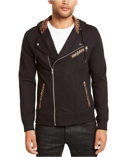 INC International Concepts I.N.C. Men's Leopard Trim Biker Jacket, Created for Macy's