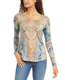 Style & Co Paisley-Print Studded Top, Created for Macy's