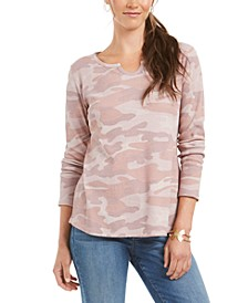 Printed Split-Neck Cotton Thermal Top, Created for Macy's