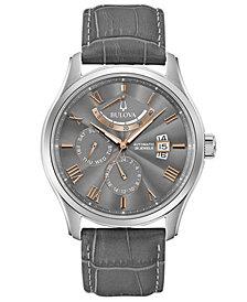Bulova Men's Automatic Wilton Gray Leather Strap Watch 43mm