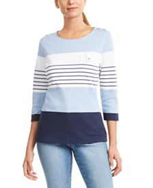 Karen Scott Colorblocked Button-Shoulder Top, Created for Macy's