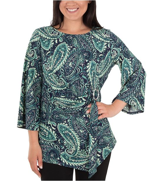 NY Collection Printed Flutter-Sleeve Ring Belt Top