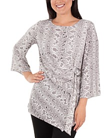 Printed Flutter-Sleeve Asymmetrical Top