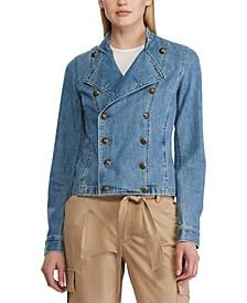 Crest-Buttoned Denim Officer's Jacket