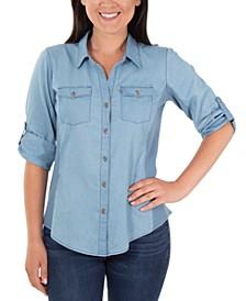 Cotton Roll-Tab Chambray Shirt