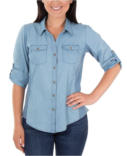 NY Collection Cotton Roll-Tab Chambray Shirt
