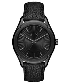 Men's Fitz Black Leather Strap Watch 44mm