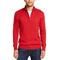Deals on Club Room Mens Pima Cable Quarter-Zip Sweater