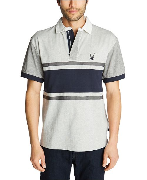 Nautica Men's Blue Sail Classic-Fit Colorblocked Stripe Zip-Up Polo Shirt, Created for Macy's