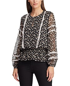 Floral-Print Ruffle-Trim Georgette Top