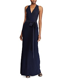 Lauren Ralph Lauren Crepe Surplice Evening Gown