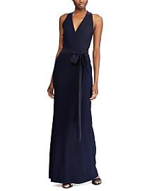Lauren Ralph Lauren Crepe Surplice Evening Gown