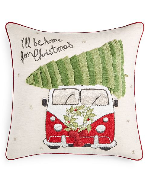 "Martha Stewart Collection Tree Truck 18"" x 18"" Decorative Pillow, Created for Macy's"