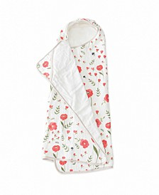 Summer Poppy Cotton Muslin Big Kid Hooded Towel