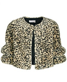 Bonnie Jean Big Girls Animal-Print Faux-Fur Jacket