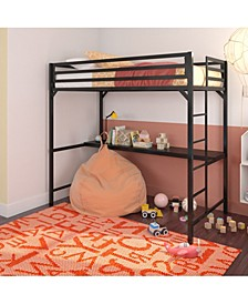 Mason Metal Twin Loft Bed with Desk