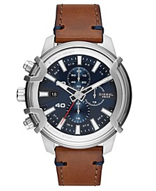 Men's Chronograph Griffed Brown Leather Strap Watch 48mm