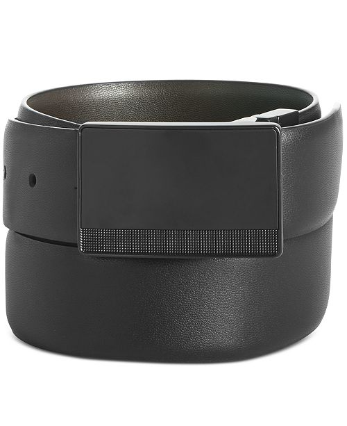 Perry Ellis Men's Plaque-Buckle Leather Belt