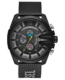 Diesel Men's Chronograph Mega Chief Black Stainless Steel Mesh Bracelet Watch 51mm