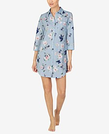 Cotton Floral-Print Sleep Shirt