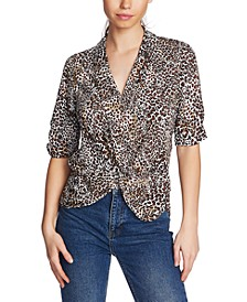 Twisted Animal-Print Top