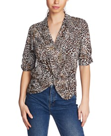 1.STATE Twisted Animal-Print Top