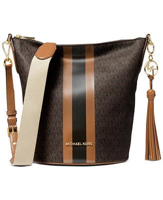 Michael Kors Brooke Medium Leather Zip Bucket Messenger
