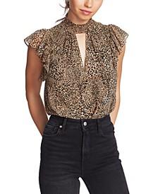Flutter-Sleeve Leopard-Print Top