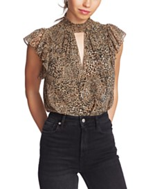 1.STATE Flutter-Sleeve Leopard-Print Top