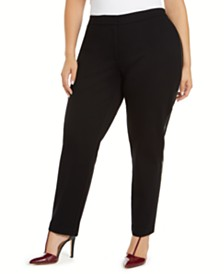 Calvin Klein Plus Size Faux-Leather-Trim Career Pants