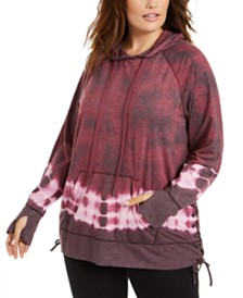 Ideology Plus Size Tie-Dye Laced-Side Hoodie, Created for Macy's