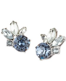 Crystal Cluster Button Earrings