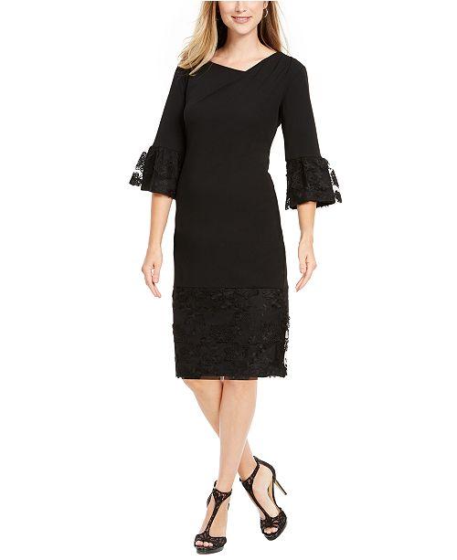 Robbie Bee Petite Lace-Trim Bell-Sleeve Sheath Dress