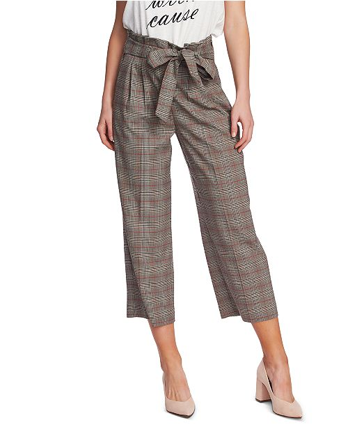1.STATE Plaid Belted Waist Capri Pants