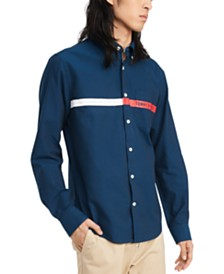 Tommy Hilfiger Men's Custom-Fit Jordy Oxford Pocket Print Logo Shirt, Created for Macy's