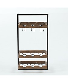 Luxen Home Wall-Mounted Wooden Wine Rack